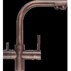 Кран комбинированный (хол/гор + питьевая) atoll 0212-L (состар.медь)