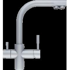 Кран комбинированный (хол/гор + питьевая) atoll 0212-L (мат.никель)